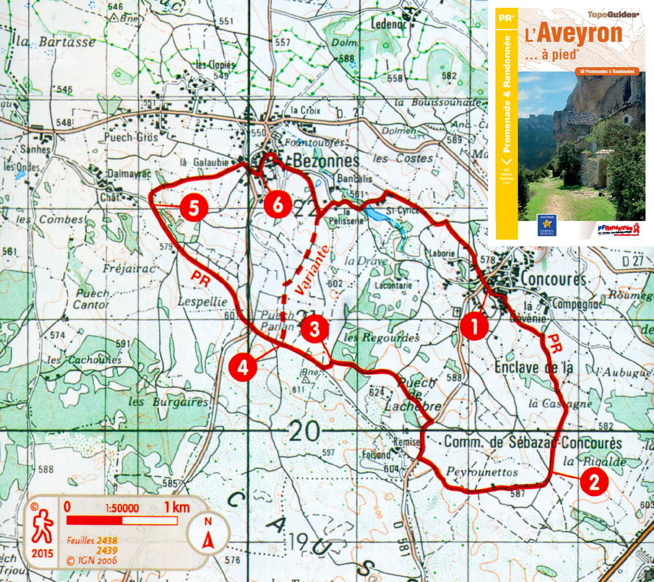 Carte randonnée Causse Comtal, Aveyron